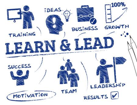 lideres: Aprender y plomo. Gr�fico con palabras clave y los iconos