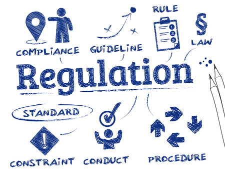 compliance: Regulation. Chart with keywords and icons Illustration