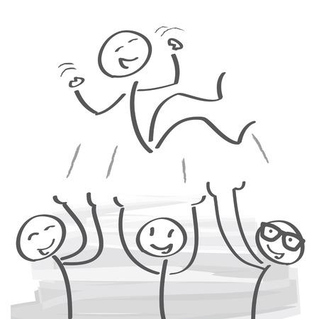 exult: Winner celebrating victory, vector illustration Illustration
