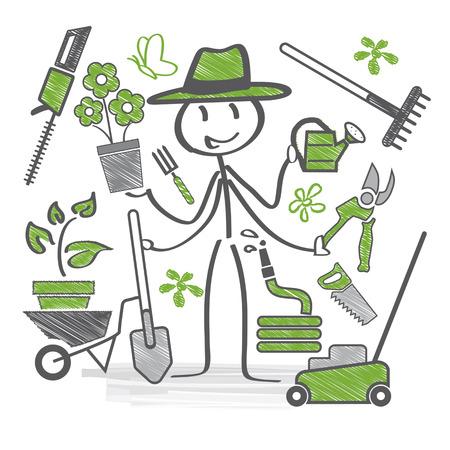 Gardener holds garden tools in hand Vectores