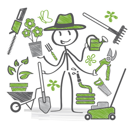 Gardener holds garden tools in hand Stock Illustratie