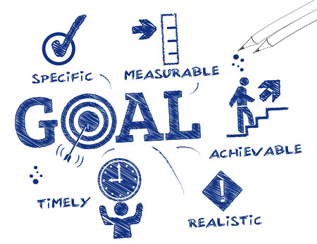 business goal: Goal setting. Chart with keywords and icons Illustration