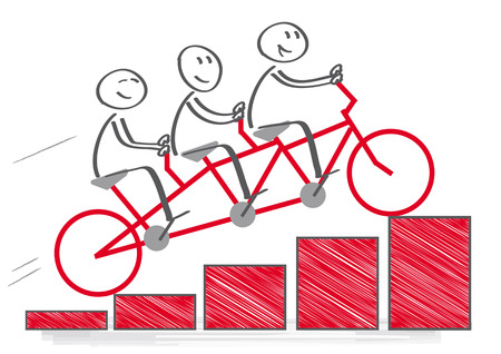Teamwork und Unternehmensgewinne. Vektor-Illustration Illustration