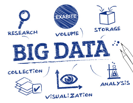 Big Data. Chart with keywords and icons Çizim