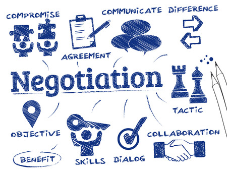 negociacion: Negociación. Gráfico con palabras clave y los iconos Vectores