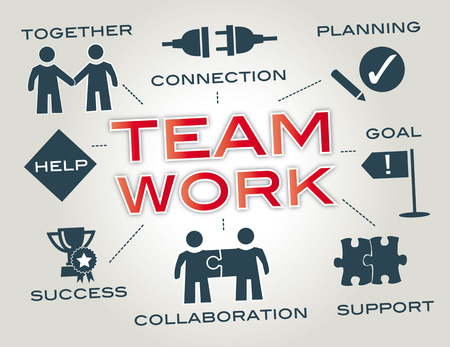 Teamwork - Infographic with keywords and icons Vettoriali