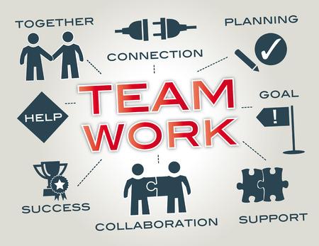 Teamwork - Infographic met zoekwoorden en pictogrammen Vector Illustratie