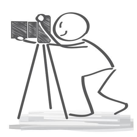 filmacion: fotógrafo de utilizar una cámara profesional Vectores