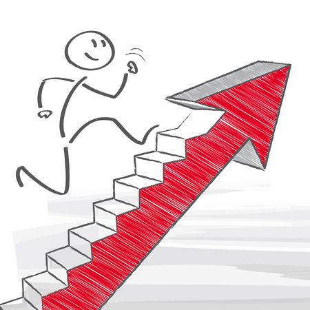 corporate ladder: figure climbs corporate ladder
