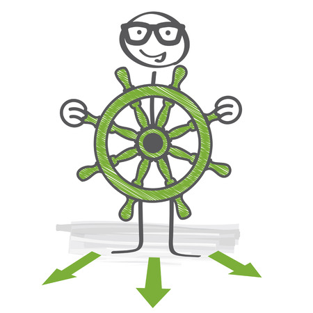 The captain holds the steering wheel in his hands