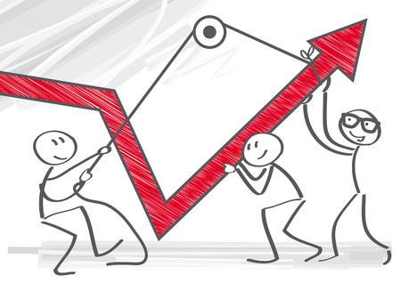 colaboracion: Imagen vectorial de hombres de negocios que tiran gr�fico