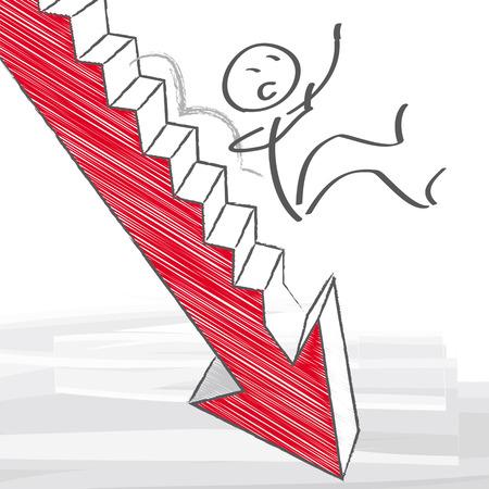 decline: businessman falls down the stairs
