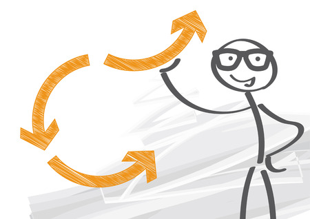 self development: changing drections - vector illustration with stick figure