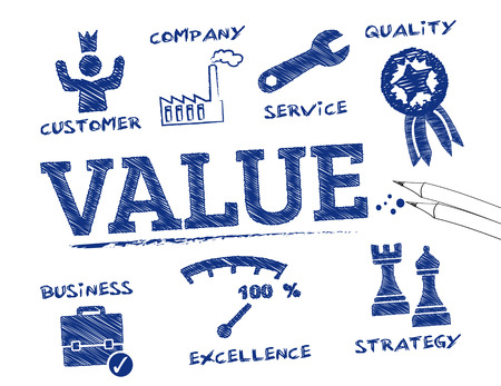 crm: Value. Chart with keywords and icons Illustration