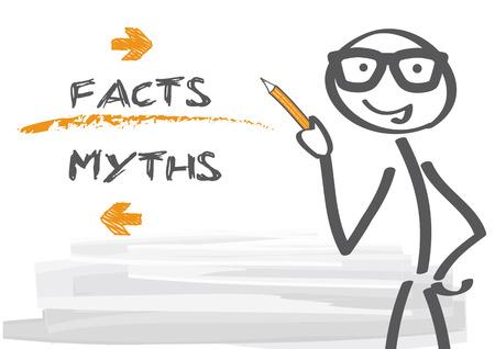 mythen en feiten - vector illustratie