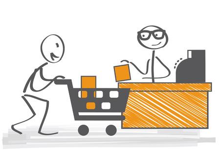 Customer pays the goods at the checkout Ilustração