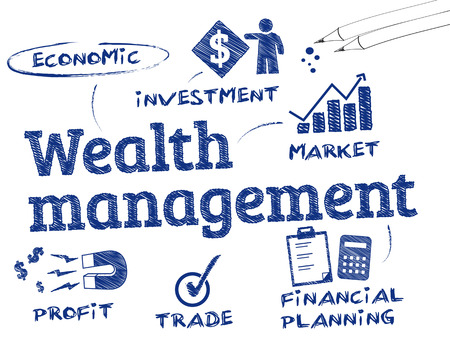 financial goals: Wealth management. Chart with keywords and icons