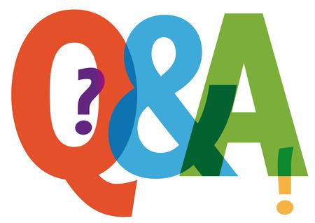 preguntando: Preguntas y respuestas símbolo - letras de colores