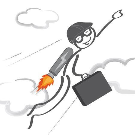 jetpack: jetpack, jet, pack, man, startup business, career, rocket, job, businessman, race, fly, vision, achievement, corporate, climbing, concept, success, courage, worker, idea, development, Business idea, innovation, direction, motivation, growth, speed, power, Illustration