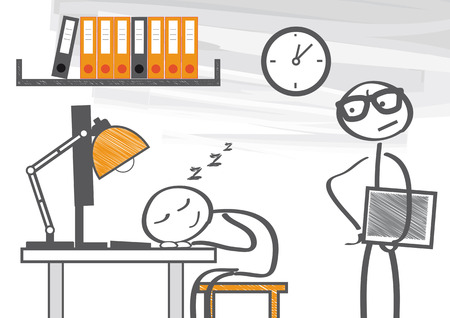 idling: Take a nap in the office Illustration