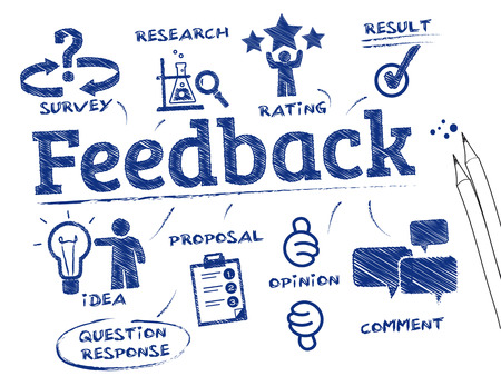 reviewing: Feedback. Chart with keywords and icons Illustration