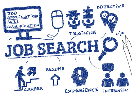 job opportunity: Job search. Chart with keywords and icons