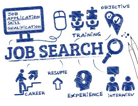 Zoek naar werk. Grafiek met zoekwoorden en pictogrammen Stock Illustratie