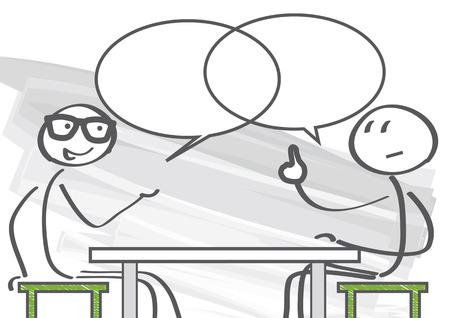 colaboracion: dos personas discutiendo los pros y los contras Vectores