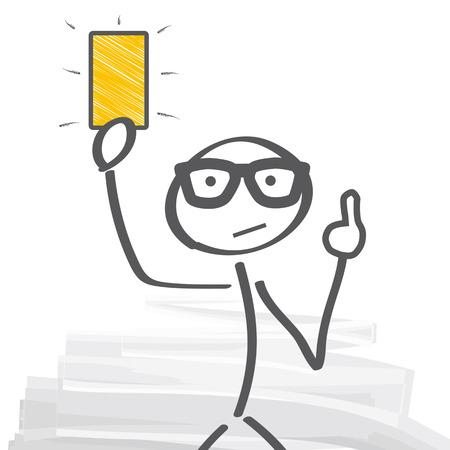arbitro: Árbitro mostrando la tarjeta amarilla Vectores