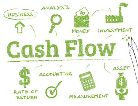 Cash flow. Chart with keywords and icons