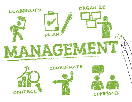 Management. Chart with keywords and icons