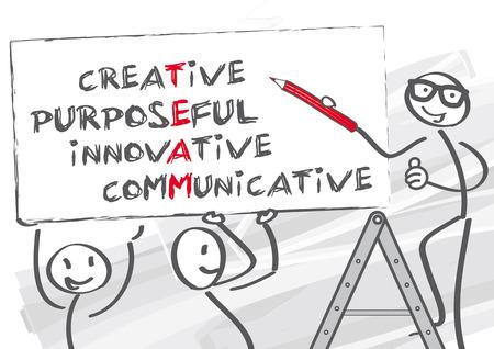 strichmännchen: Teamarbeit ist Arbeit durch mehrere Mitarbeiter - Vektor-Illustration