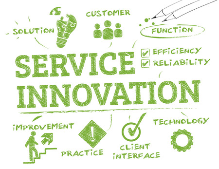 service innovation. Chart with keywords and icons Иллюстрация