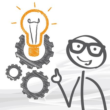 Stick Mann und Glühbirne mit Getriebe und Zahnräder arbeiten zusammen