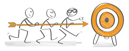 setting: Achieving goal concept - Businesspeople holding arrow