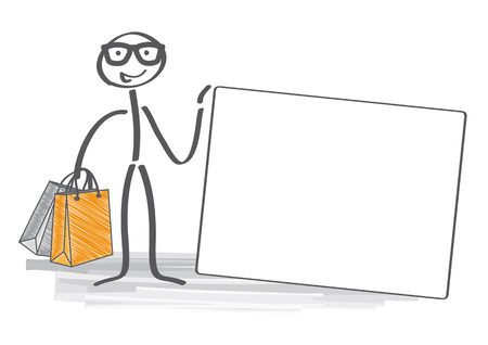 man holding card: Happy Stick man with shopping bags holding a credit card