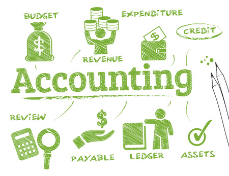 Accounting. Diagramm mit Keywords und Symbole Standard-Bild - 44957064