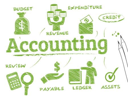 Accounting. Grafiek met zoekwoorden en pictogrammen Stock Illustratie