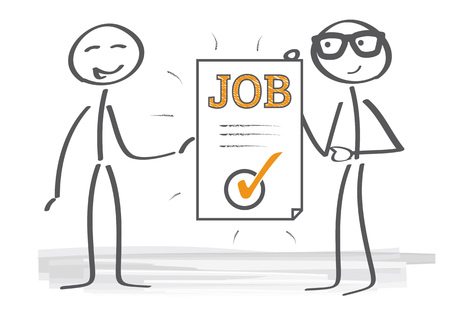 career up: New employee receives a contract of employment Illustration