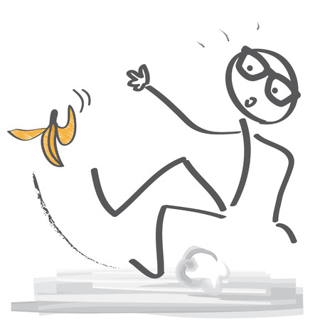 Stick figure slipping on a banana peel