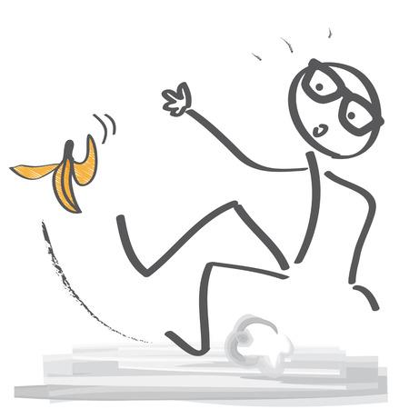 Stok figuur uitglijden over een bananenschil