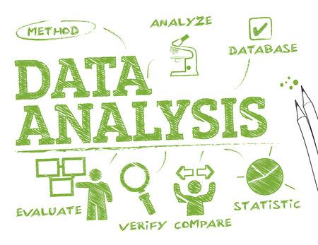 Data-analyse. Grafiek met zoekwoorden en pictogrammen