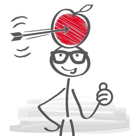 彼の頭とを介して撮影の矢印の上のリンゴを持ったビジネスマン