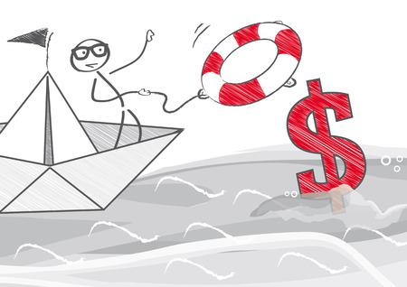 dollaro: Come risparmiare soldi - illustrazione vettoriale Vettoriali