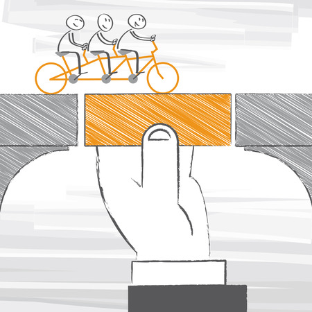 bridging for business team – vector illustration 向量圖像
