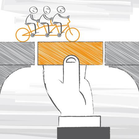 bridge hand: bridging for business team – vector illustration Illustration
