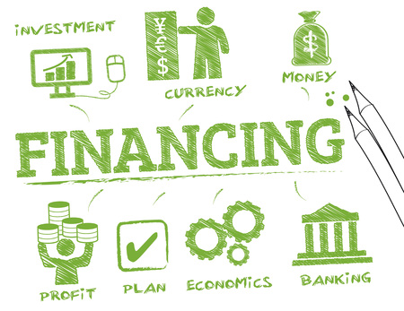 business loans: financing. Chart with keywords and icons