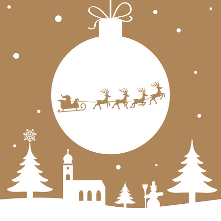 red christmas background: Christmas illustration - Santa Claus with Reindeer golden color