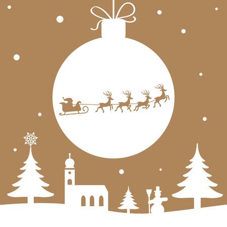 renna: Illustrazione di Natale - Babbo Natale con renne colore dorato