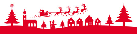 present: winter christmas banner red coloured